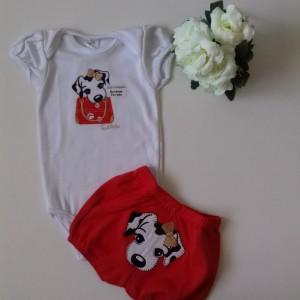Conjunto Body e Shorts Bordados Cadelinha no Passeio - Vermelho