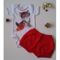 Conjunto Bebê Body e Shorts Gatinha Brincando com Novelo de Lã - Vermelha
