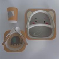 Kit Alimentação Ecológico Prato Infantil 5 Peças Fibra de Bambu Siprianni - Elefante Amarelo