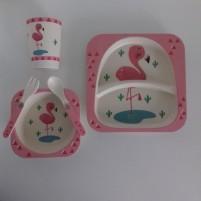 Kit Alimentação Ecológico Prato Infantil 5 Peças Fibra de Bambu Siprianni - Flamingo Rosa