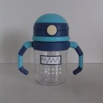Copo de Transição com Canudo Infantil Bebê Linha Robot Siprianni - Azul
