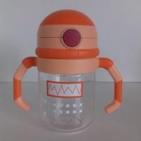 Copo de Transição com Canudo Infantil Bebê Linha Robot Siprianni - Laranja
