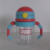 Copo de Transição com Canudo Infantil Bebê Linha Robot Siprianni - Vermelho