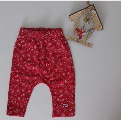 Calça Saruel Menina com Estampa de Borboletinha - Vermelha