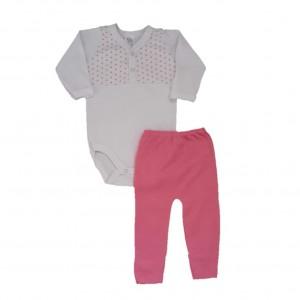 Conjunto Inverno Bebê Menina Body e Calça Poá Rosa