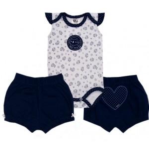 Conjunto Bebê Regata Bordado no Bumbum Passarinho e Coração
