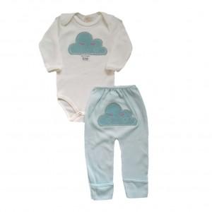 Conjunto Bebê Body e Calça Manga Longa Bordados Nuvem - Verde Água