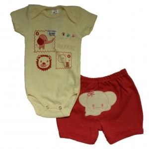 Conjunto Body Bebê  e Shorts Bordados Safari Menina