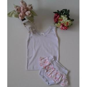 Conjunto Regata e Tapa Fraldas com Florzinha - Branco Menina