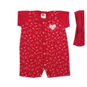 Macacão Bebê Manga Curta Borboletinha e Coração Menina Vermelho