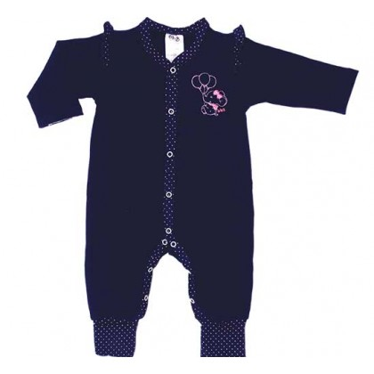 Macacão Bebê Menina Manga Longa Elefantinha Azul Marinho e Rosa