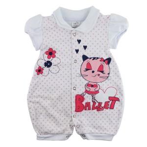 Macacão Bebê Menina Manga Curta Ballet - Branco