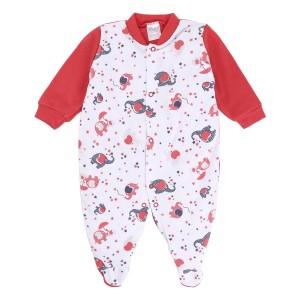 Macacão Bebê Suedine Elefantinhos Manga Longa Vermelho
