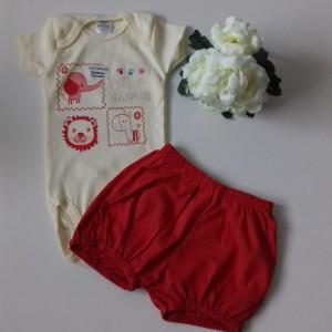 Conjunto Body e Shorts Elefantinho Menina