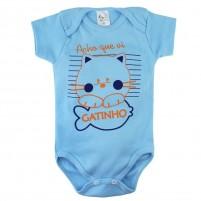 Body Manga Bebê Curta Acho que Vi um Gatinho - Azul Claro