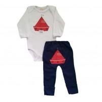 Conjunto Bebê Bordado Body e Calça Barquinho - Azul Escuro