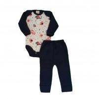 Conjunto Bebê Menino Inverno Body e Calça Elefantinhos - Azul Marinho