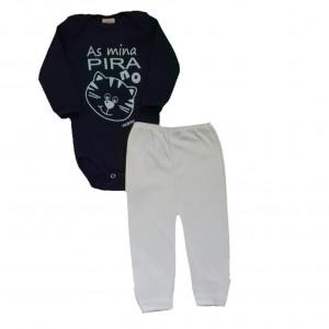 Conjunto para Bebê Menino Body e Calça Gatinho - Azul Marinho