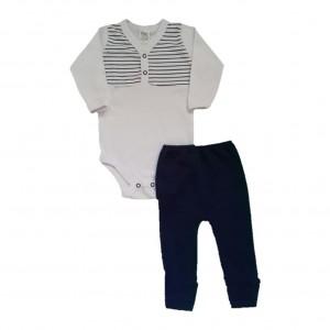 Conjunto Inverno Bebê Menino Body e Calça Listras