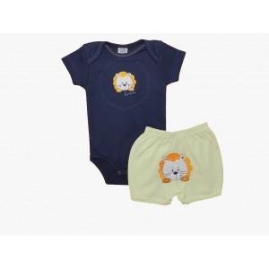 Conjunto Bebê Menino Body e Shorts Bordados Leãozinho