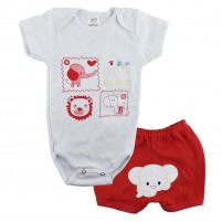 Conjunto Body Bebê  e Shorts Bordados Safari - Menino
