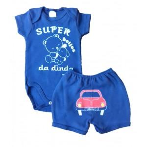 Conjunto Body Bebê Frase e Shorts Bordado Carrinho - Dinda Menino