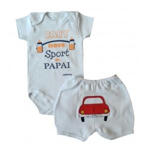 Conjunto Body Bebê Frase e Shorts Bordado Carrinho - Papai Menino