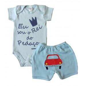 Conjunto Body Bebê Frase e Shorts Bordado Carrinho - Rei do Pedaço Menino