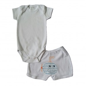 Conjunto Body Liso e Shorts Bordado Submarino - Branco