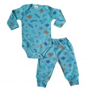 Conjunto Pijama Body e Calça Espaço Sideral - Azul