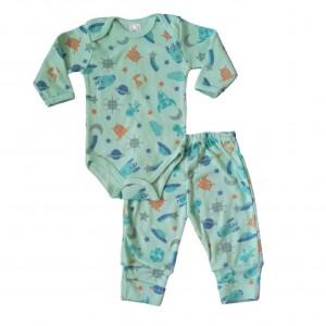 Conjunto Pijama Body e Calça Espaço Sideral - Verde