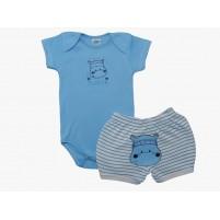 Conjunto Body Bebê Menino e Shorts Bordados Hipopótamo