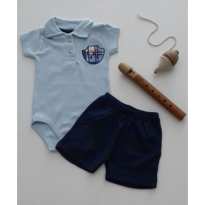 Conjunto Body Polo Bordado e Shorts Brasão