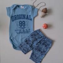 Conjunto Bebê Bermuda e Body Original 88 - Azul