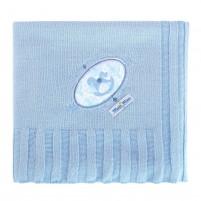 Manta Tricot Bordada Bebê Menino - Cavalinho Azul