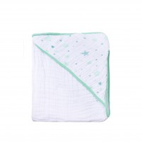 Toalha Bebe com Capuz Soft Estampa Estrela 80cm x 80cm - Verde