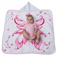 Toalha Felpuda Infantil 90 x 90 cm com Capuz  Estampa de Fadinha Menina