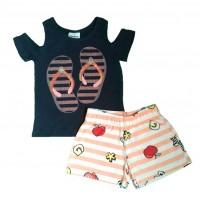 Conjunto Menina Bebê Camiseta e Shorts Chinelinho Verão - Azul
