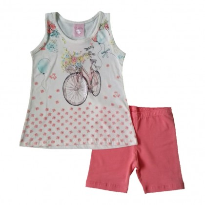 Conjunto Infantil Menina Shorts e Camiseta Regata Primavera 1 a 3 anos