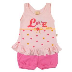 Conjunto Menina Love - Rosa Verão