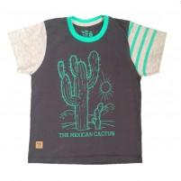 Camiseta Menino Cacto - Preta Verão