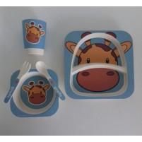 Kit Alimentação Ecológico Prato Infantil 5 Peças Fibra de Bambu Siprianni - Girafa Azul