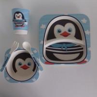 Kit Alimentação Ecológico Prato Infantil 5 Peças Fibra de Bambu Siprianni - Pinguim Azul