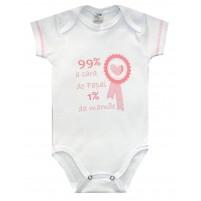 Body Bebê Menina Manga Curta 99% Cara do Papai 1% Cara da Mamãe - Branco