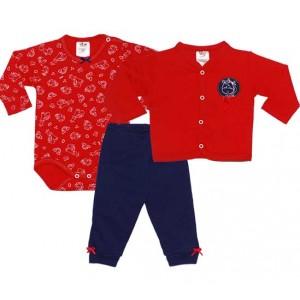 Conjunto Bebê Inverno Body Manga Longa Calça e Casaco Unicórnio Vermelho e Marinho