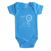 Body Bebê Menino Manga Curta 99% Cara do Papai 1% Cara da Mamãe - Azul