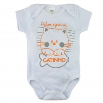Body Manga Bebê Curta Acho que Vi um Gatinho - Branco