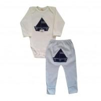 Conjunto Bebê Bordado Body e Calça Barquinho - Azul Claro