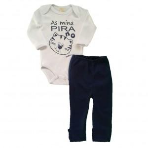 Conjunto para Bebê Menino Body e Calça Gatinho - Branco