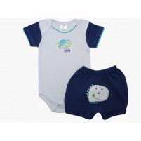 Conjunto Bebê Menino Body e Shorts Bordados Dino - Azul Escuro